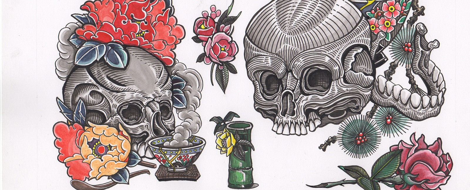 two skulls with many tattoo elements pine tree rose bamboo and smoke