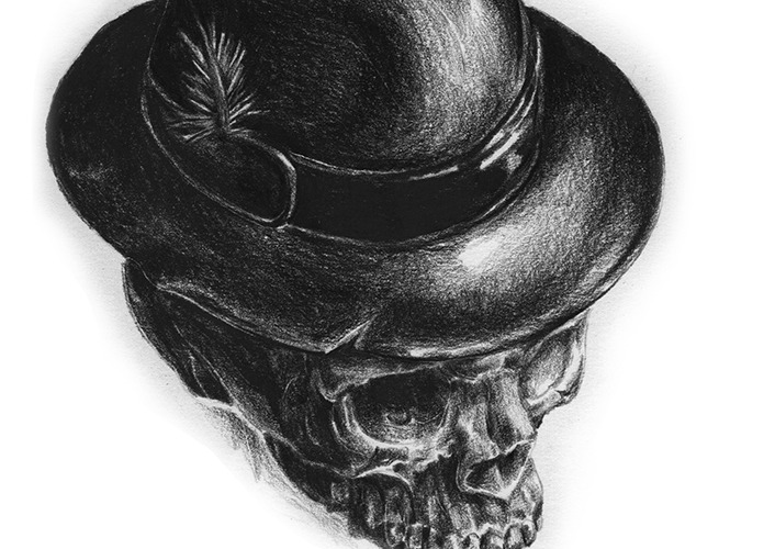 skull wearing fedora hat feather
