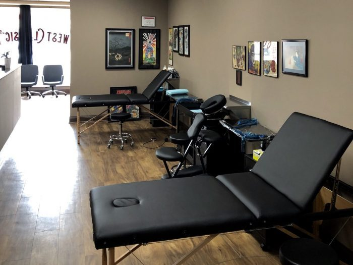 interior tattoo shop image of room with tattoo tables